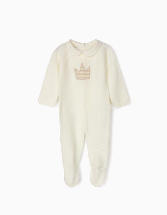 Babygrow de Malha para Recém-Nascido 'Crown', Branco
