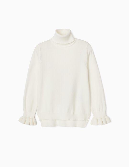 Camisola de Gola Alta para Menina, Branco
