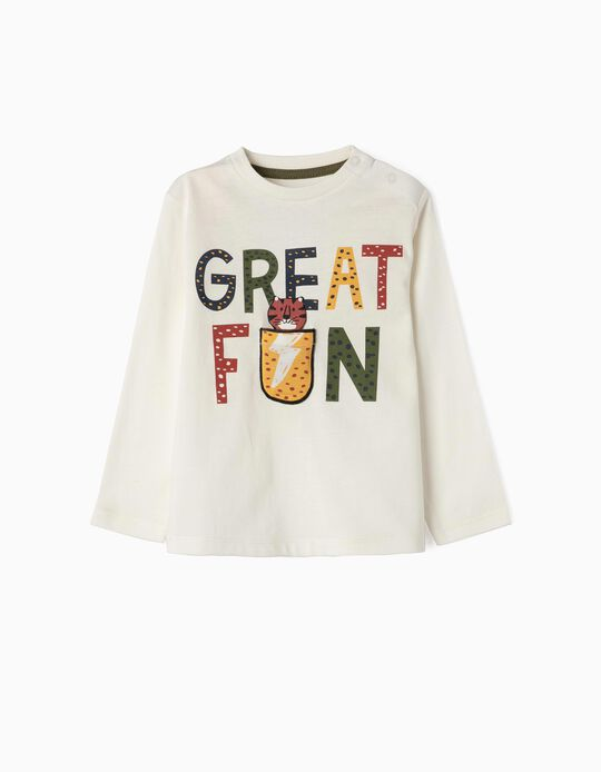 Camiseta de Manga Larga para Bebé Niño 'Great Fun', Blanca