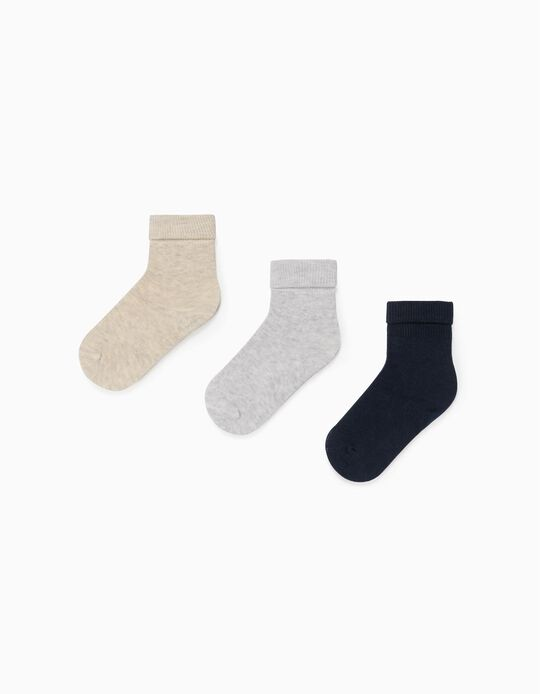 3 Pairs of Turn Cuff Socks for Babies, Blue/Beige/Grey