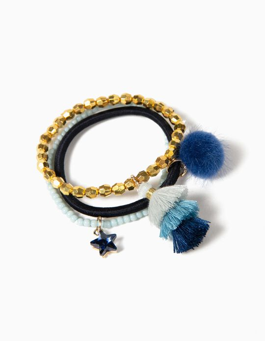 3 Pulseras Azul y Dorado