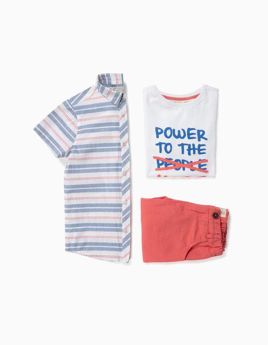 Conjunto para Niño 'Power to The Kids', Blanco y Coral