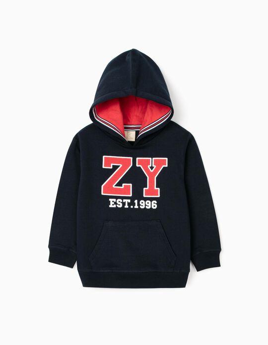 Sweatshirt com Capuz para Menino 'ZY', Azul Escuro