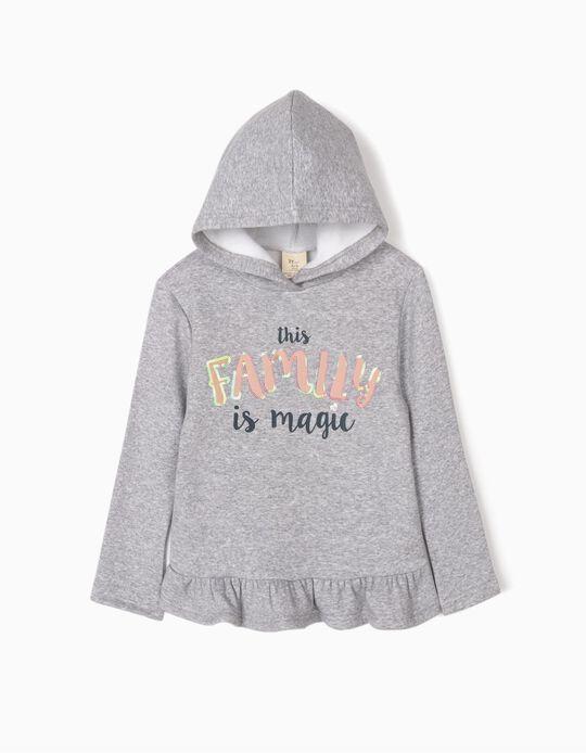 Sweatshirt com Capuz para Menina 'Family', Cinza