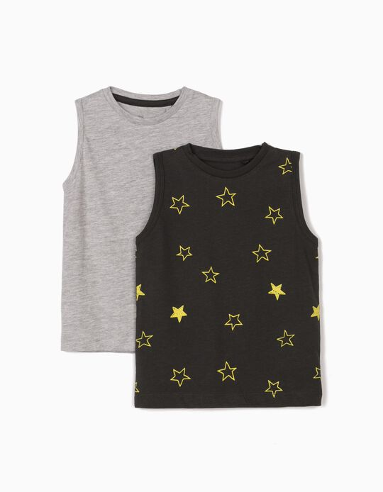 2 Sleeveless T-Shirts for Baby Boys, Dark Grey/Light Grey