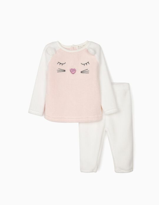 Minky Fabric Pyjamas for Baby Girls 'Cute Cat', White/Pink