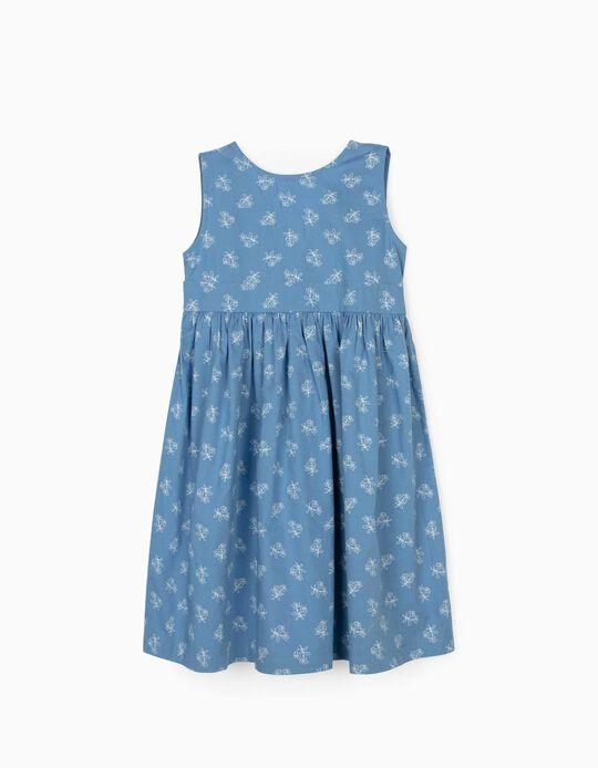Vestido de Flores para Niña, Azul