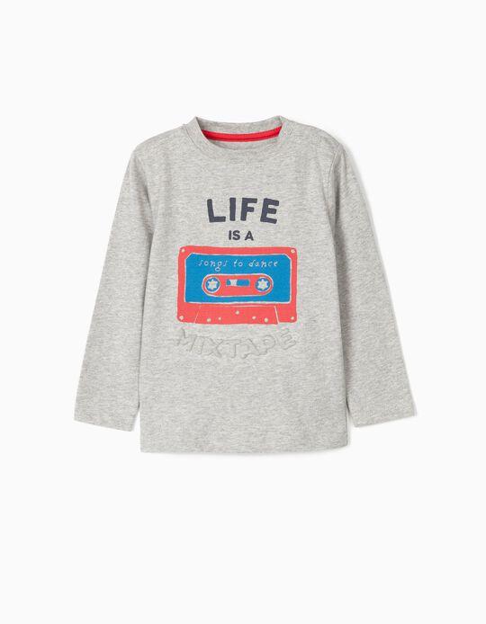 Camiseta Manga Larga para Bebé Niño 'Mixtape', Gris
