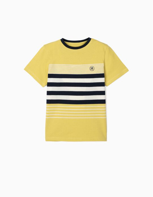 Striped T-shirt for Boys, Lime Yellow