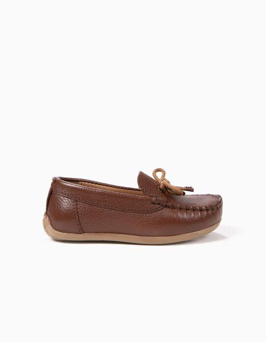 Sapatos de Pele para Bebé Menino 'Loafers', Castanho