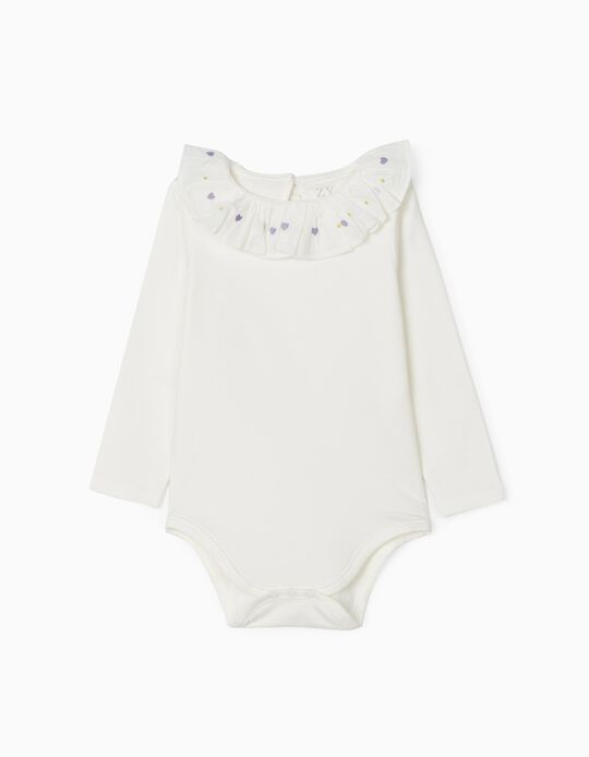 Bodysuit with Embroidered Collar for Baby Girls, White