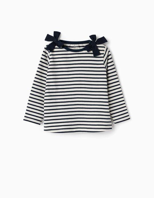 Camisola às Riscas para Bebé Menina, Azul Escuro e Branco