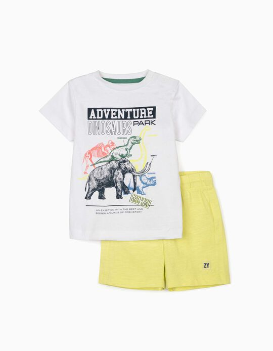T-shirt & Shorts for Baby Boys, 'Dinosaurs', White/Lime Yellow