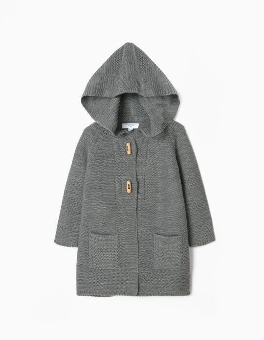 Long Knit Cardigan for Baby Girls 'B & S', Grey
