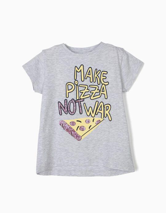 T-shirt para Menina 'Pizza', Cinza