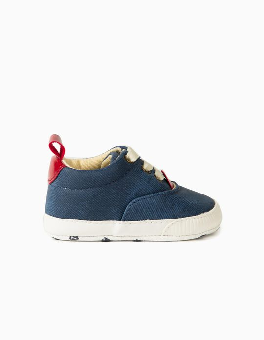 Sapatos Encerados para Recém-Nascido, Azul