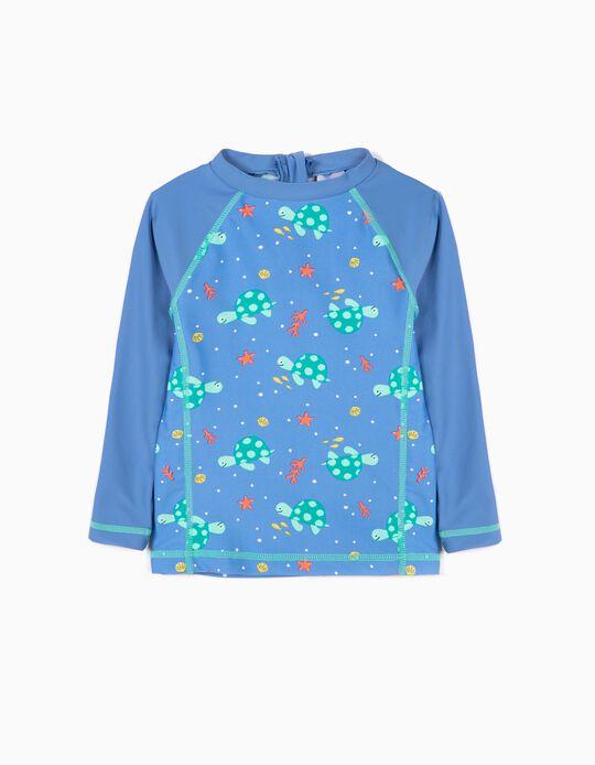 T-shirt de Banho Manga Comprida para Bebé Menino Anti-UV 80, Azul
