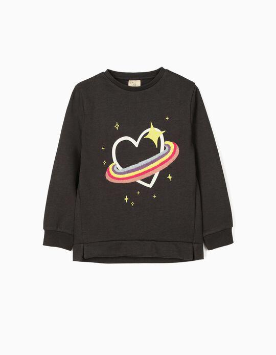 Sweatshirt para Menina 'Saturn Heart', Cinza Escuro