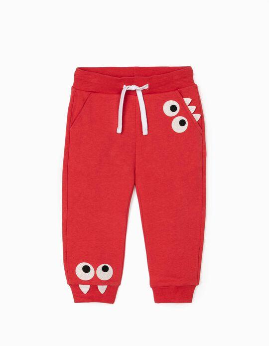 Pantalón de Chándal para Bebé Niño 'Cute Monsters', Rojo