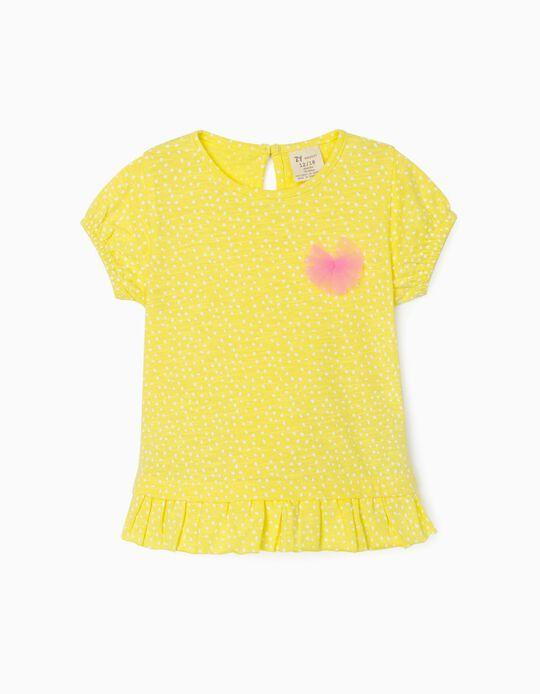 T-shirt for Baby Girls, 'Dots', Yellow