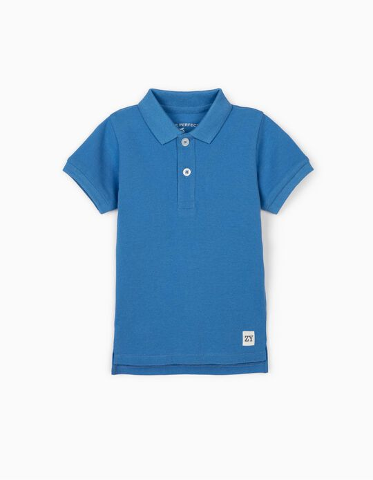 Short Sleeve Polo Shirt for Baby Boys, Blue