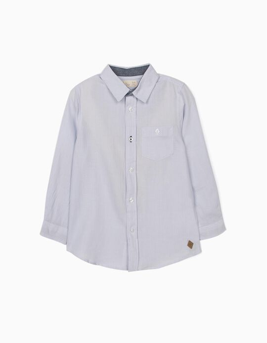 Striped Shirt with Elbow Patches for Boys, Blue