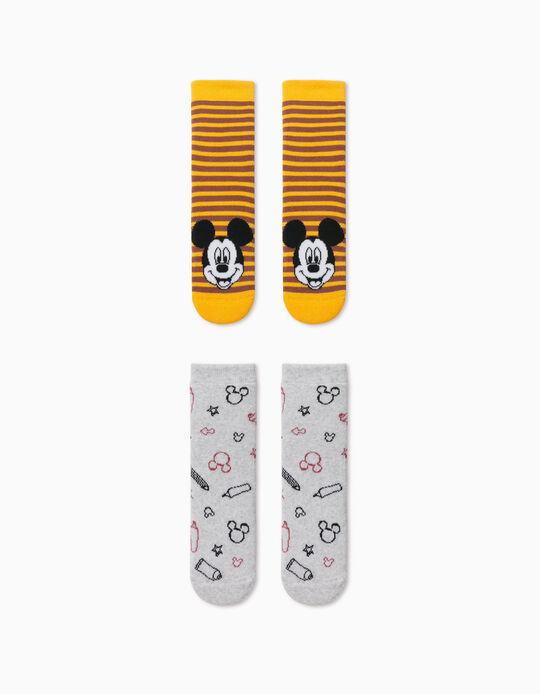 2 Pares Meias Antiderrapantes para Menino 'Mickey', Cinza/Amarelo