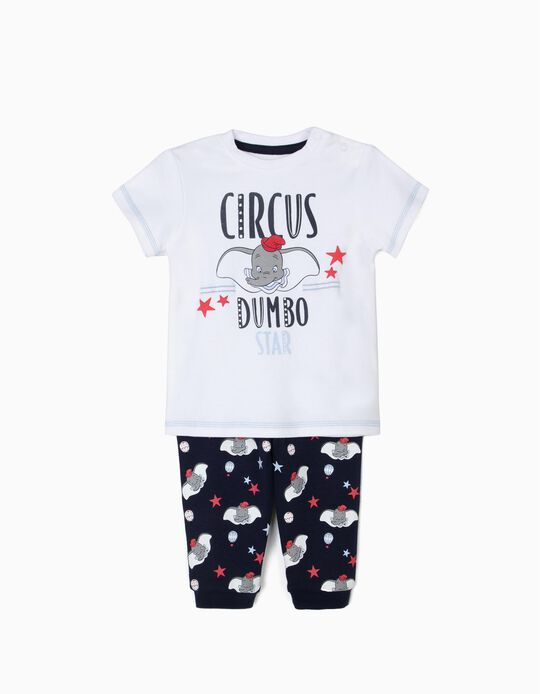 Pijama para Bebé Niño 'Dumbo', Blanco y Azul Oscuro
