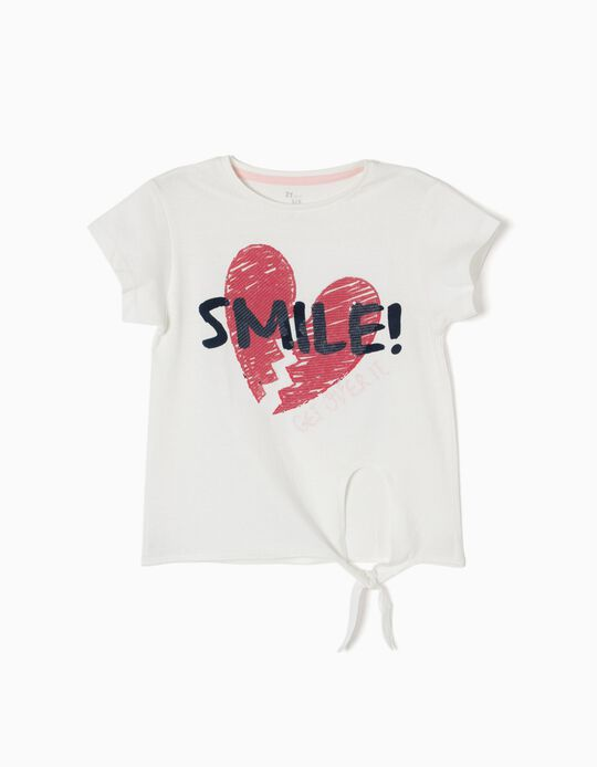 T-shirt Broken Heart Branca com Nó