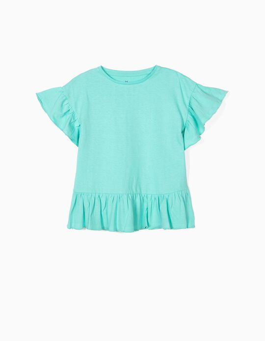 T-shirt with Ruffles for Girls, Blue