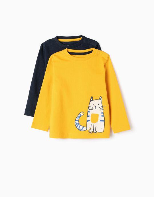 2 T-shirts Manga Comprida para Bebé Menino 'Cat & Car', Amarelo/Azul