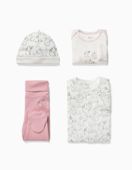 Conjunto 4 Peças para Recém-Nascida 'Cute Rabbit', Branco e Rosa