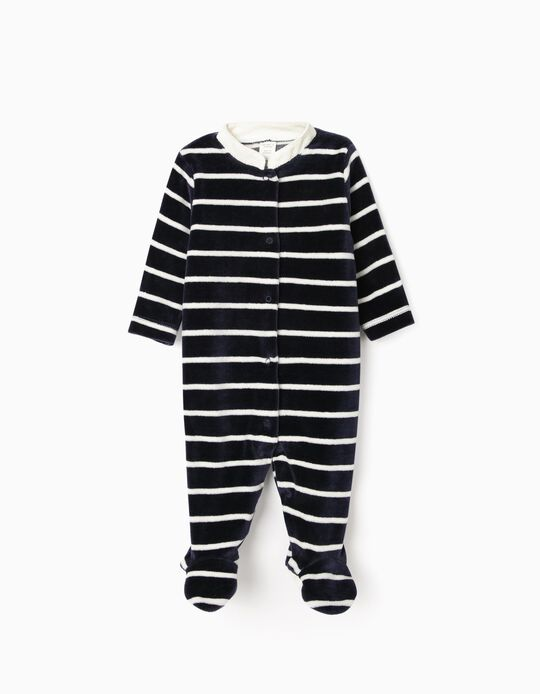Velour Sleepsuit for Newborn Baby Boys, 'WH', Dark Blue/White
