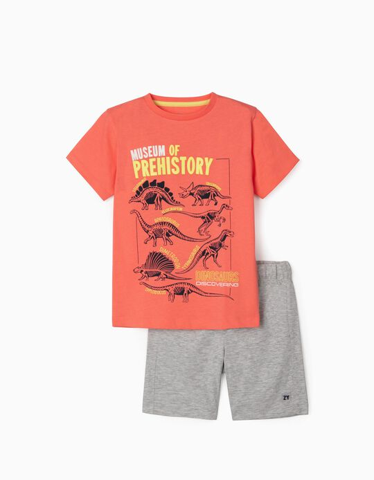 T-shirt & Shorts for Boys, 'Dinosaurs', Coral/Blue