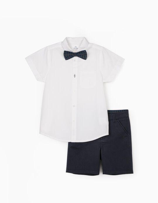 Camisa, Laço e Calções para Menino, Branco/Azul Escuro