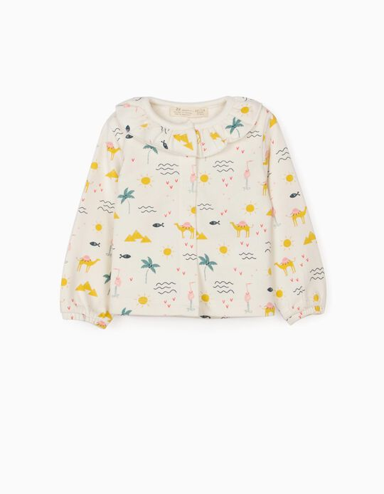 Jacket for Baby Girls, 'Camels', White