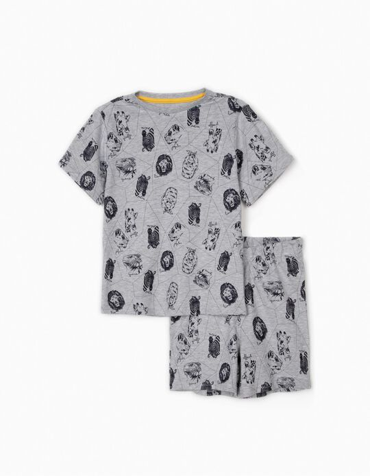 Short Sleeve Pyjamas for Boys, 'Animals', Grey