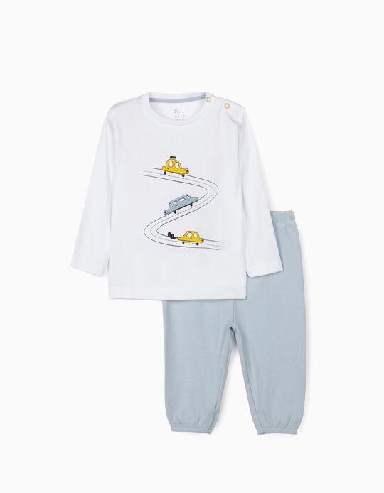 Pyjamas for Baby Boys 'Cars', White/Blue