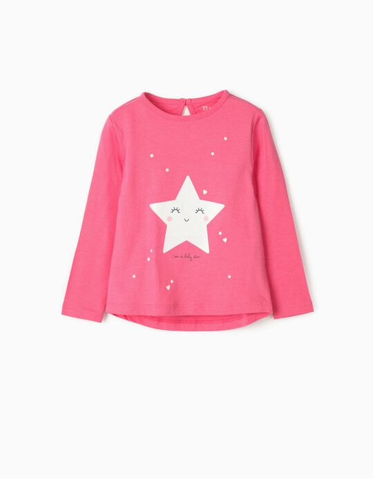Long Sleeve 'Baby Star' Top for Baby Girls, Pink