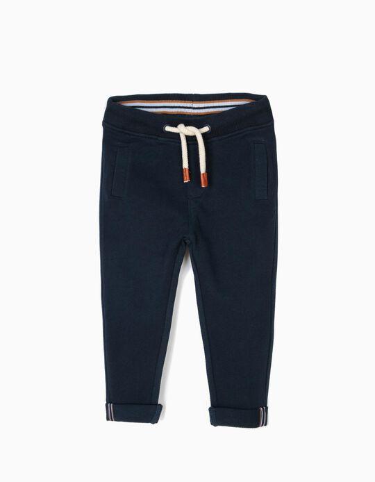 Calças de Treino para Menino com Textura, Azul Escuro