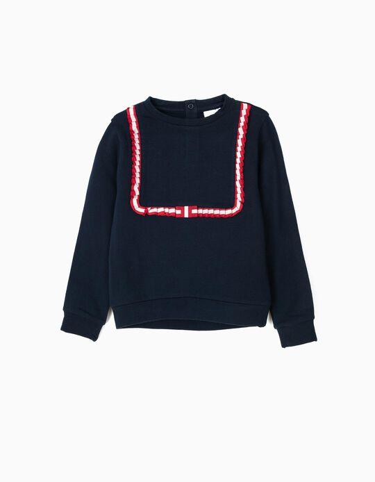 Sweatshirt para Menina com Fita Plissada, Azul Escuro