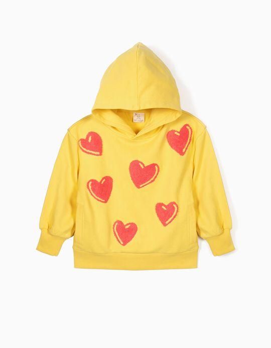Sweatshirt com Capuz para Menina 'Corações', Amarelo