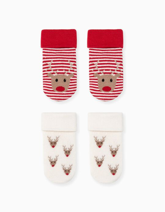 2 Pares de Calcetines Antideslizantes para Bebé 'Reindeer', Rojo/Beige
