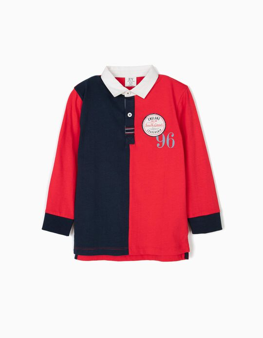 Long Sleeve Polo Shirt for Baby Boys 'South Coast', Blue and Red