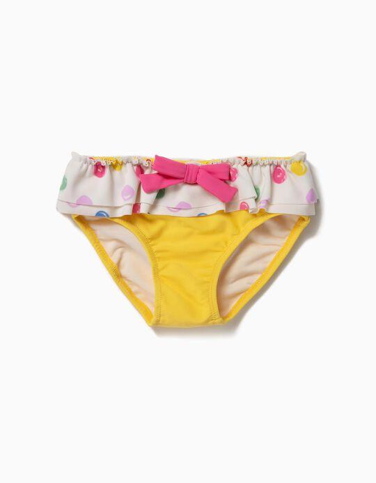 Bañador Culetín para Bebé Niña 'Lunares' Antirrayos UV 80, Amarillo