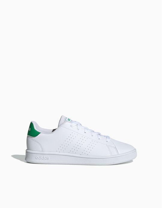 Trainers, 'Adidas Advantage', White/Green