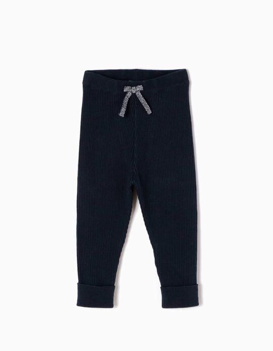 Pantalón de Punto con Lacito Azul