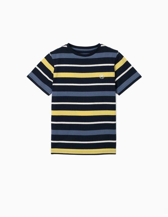 T-shirt Riscas para Menino, Azul