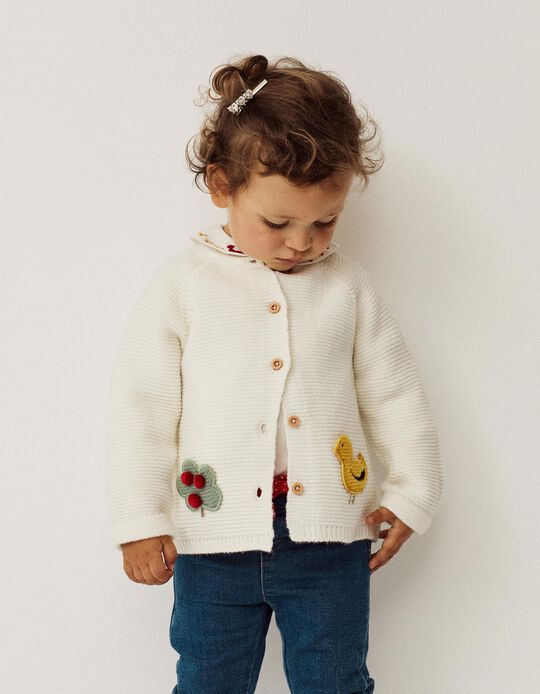 Cardigan for Baby Girls 'Duckie', White