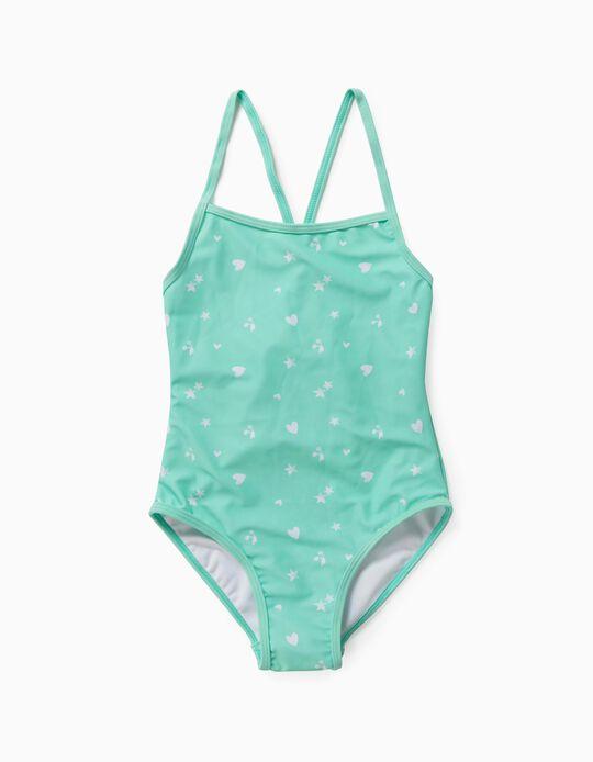 Maillot de bain imprimé fille, vert d'eau